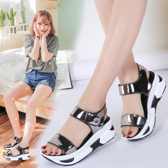 Korean-style flat waterproof platform thick bottomed women's shoes sandals (Silver)