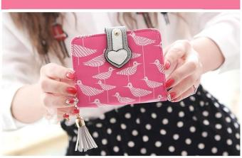Korean-style folding student zip purse New style women's wallet (Rose color)