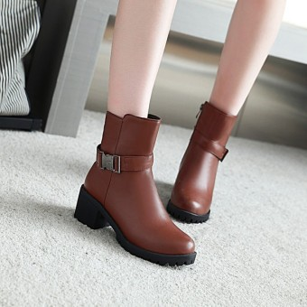 Korean-style girls with Side Zipper Martin boots short boots (Brown)