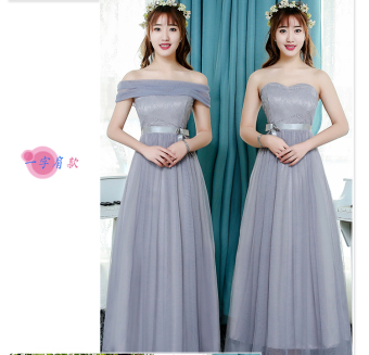 Korean-style gray New style half-sleeve shirt sisters dress bridesmaid dress (E models A-line shoulder paragraph gray) (E models A-line shoulder paragraph gray)