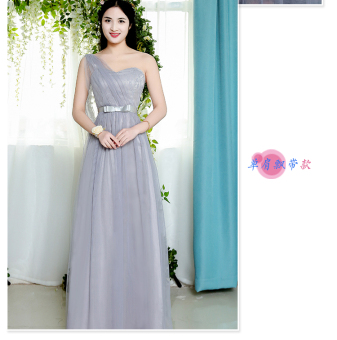 Korean-style gray New style half-sleeve shirt sisters dress bridesmaid dress (Light gray color) (Light gray color)