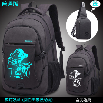 Korean-style High School Students travel bag backpack (Yeguang one piece to send ink black chest pack Ordinary Version)