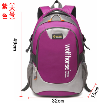 Korean-style large capacity male backpack school bag (Large purple)