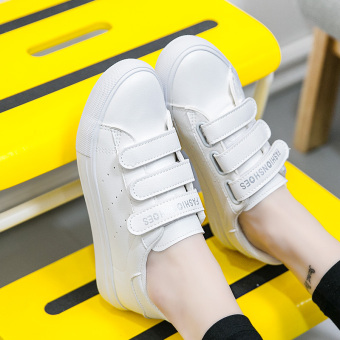 Korean-style leather female flat Velcro shoes white shoes (White)
