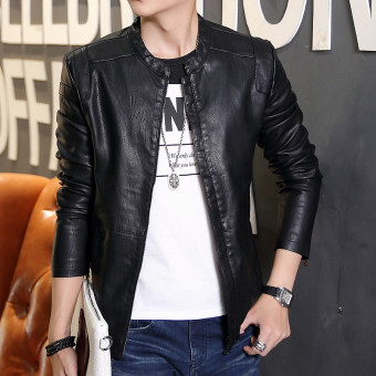 Korean-style Leather Slim fit type jacket men's leather (Black)