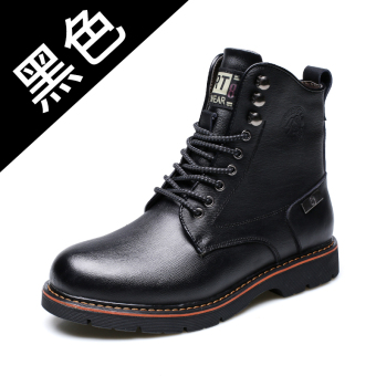 Korean-style leather waterproof Desert boots tooling shoes Dr. Martens (For Hair 8634-5 shoes black)