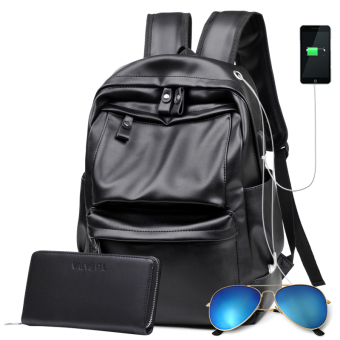 Korean-style leather youth school bag backpack (Black upgrade version with charging headset hole (with glasses + handbag))