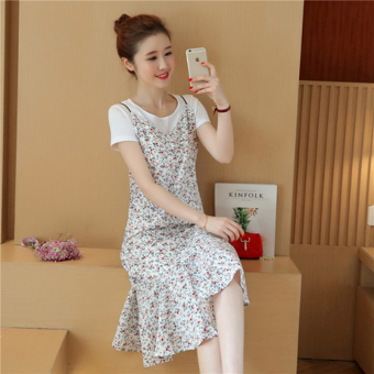 Korean-style long section floral bottoming skirt chiffon Dungaree dress (White (dress + T-shirt))
