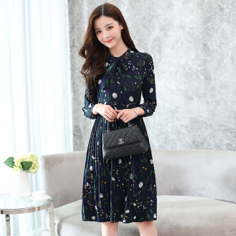 Korean-style long section Slim fit Slimming effect chiffon bottoming skirt long-sleeved floral dress