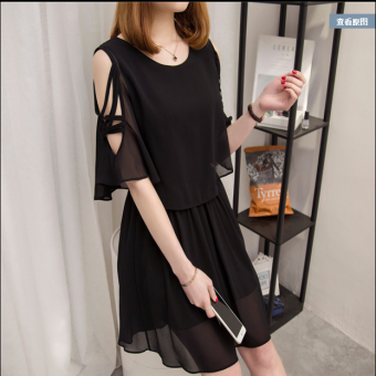 Korean-style long section Slimming effect short-sleeved a word skirt chiffon dress (Black)