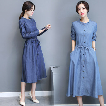Korean-style long-sleeved Spring and Autumn New style dress denim dress (Shen Lan)