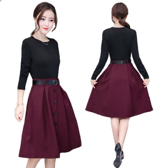 Korean-style long-sleeved Spring and Autumn Slimming effect waist skirt stitching dress (Grape purple)