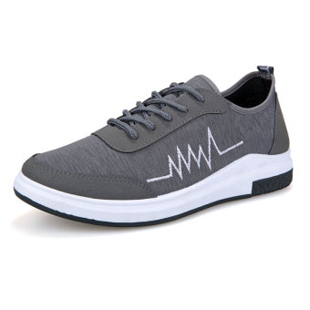 Korean-style male student New style flat canvas shoes Shoes (Gray)