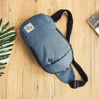 Korean-style male students messenger bag New style chest pack (Blue)