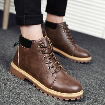 Korean-style Martin hight-top shoes Dr. Martens men boots (Brown)
