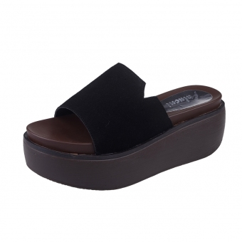 Korean-style matte leather women's muffin bottom drag sandals slanted heel slippers (Black (suede))