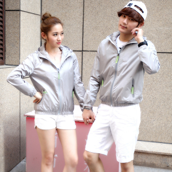 Korean-style men and women autumn New style hooded coat couple jacket (Gray)