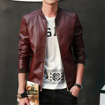 Korean Style Men Fashion Coat PU Leather Jacket Thin Fit Coats Jackets Button Zipper Outerwear - intl