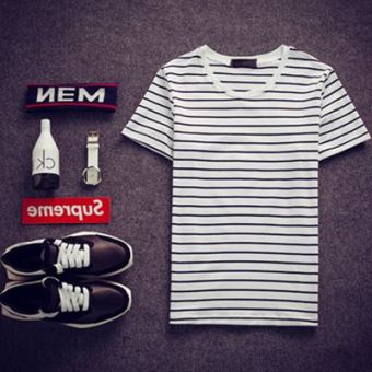 Korean-style men navy-striped shirt summer short sleeved t-shirt (White striped)