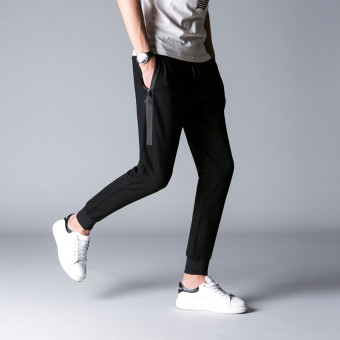 Korean-style men skinny harem pants casual sports pants (Black)