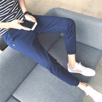 Korean-style men Slim fit skinny ankle-length pants casual pants (Dark blue color)