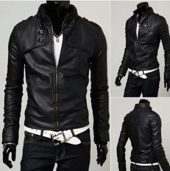 Korean-style men Slim fit stand-up collar leather jacket Leather (Black (Plain leather))