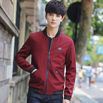 Korean-style men Slim fit Teenager men's jacket New style jacket (Wine red color)