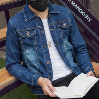 Korean-style men Slim fit thin section jacket denim jacket (Double pockets)