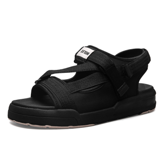 Korean-style men Teenager gladiator sandals men's shoes (Black)