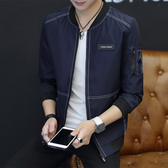 Korean-style men thin section Spring and Autumn baseball clothes men's jacket (Dark blue color)
