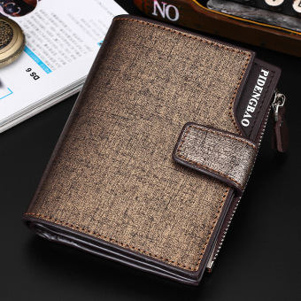 Korean-style men verticle youth cool wallet three fold wallet (Gold)