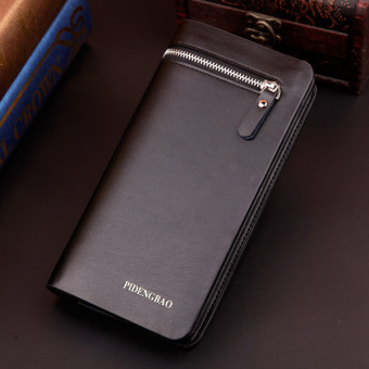 Korean-style men's business multi-functional zip phone package men's long wallet (Black)