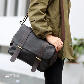 Korean-style men's cross-body travel men's bag shoulder bag (Black leather version)