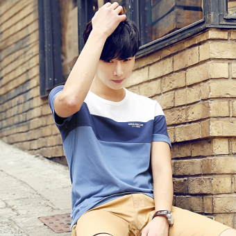 Korean-style men's short sleeved round neck student T-shirt (4380 blue and white)