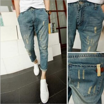 Korean-style men's skinny with holes denim pants men's jeans