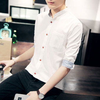 Korean-style men's Slim fit thin sleeve shirt short sleeved shirt (White)