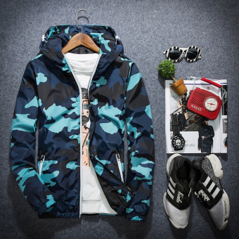 Korean-style men's Teenager Slim fit hooded autumn jacket (Camouflage blue)