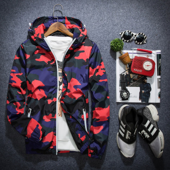 Korean-style men's Teenager Slim fit hooded autumn jacket (Camouflage red)
