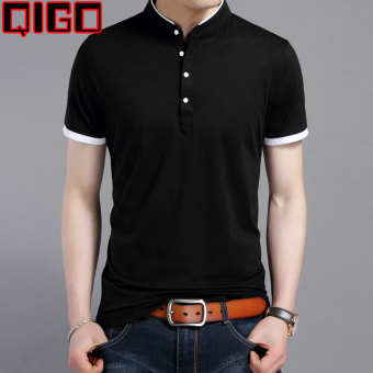 Korean-style men's youth Slim fit cotton T-shirt men's short sleeved t-shirt (8809 black) (8809 black)