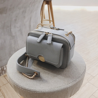 Korean-style mini contrasting color shoulder bag small bag (Gray)