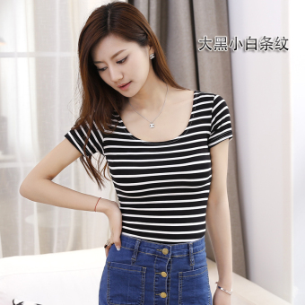 Korean-style modal black Slim fit big round neck Top T-shirt (Big black white striped (ultra-thin slim fit)