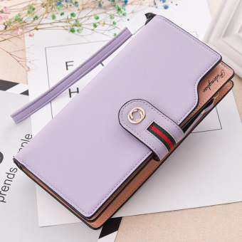 Korean-style multi-functional large capacity hook clutch bag New style women's wallet (Light purple color)