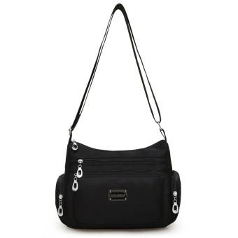 Korean-style new New style shoulder messenger bag waterproof nylon bag (Black)