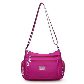Korean-style new New style shoulder messenger bag waterproof nylon bag (Bright purple)