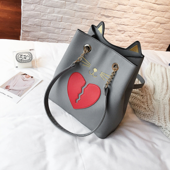 Korean-style new origional cat women's bag bucket bag (Gray)