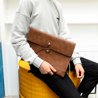 Korean-style New style business men's bag envelope bag (Yellowish brown color)