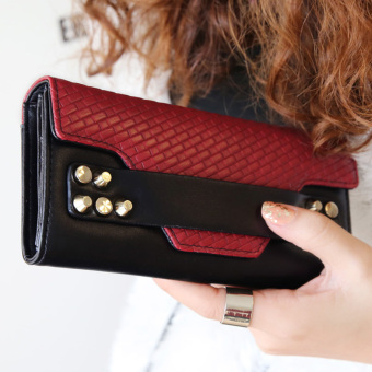 Korean-style New style contrasting color woven leather wallet riveted leather belt (Wine red (black leather belt))