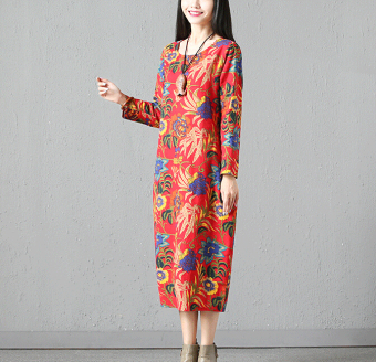 Korean-style New style long-sleeved Print dress (Red)