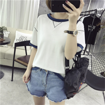 Korean-style New style LOOESN short sleeved t-shirt female Top T-shirt (White)