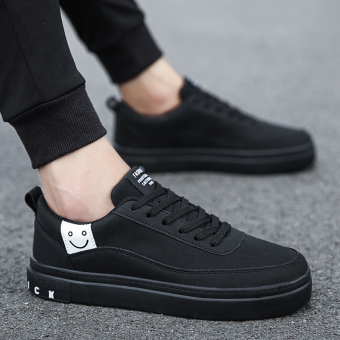 Korean-style New style men casual shoes men's shoes (Black)